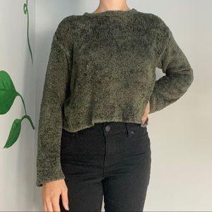 Vintage fuzzy sweater crop top dark green